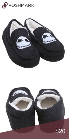 NEW Nightmare Before Christmas Moccasin Slippers Jack Skellington house shoes. Black with white skull graphic. Sizing is a 12/13. Shoes