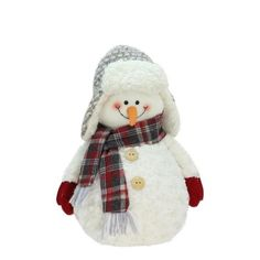 "13"""" Friendly Snowman with Trapper Hat Christmas Tabletop Decoration"