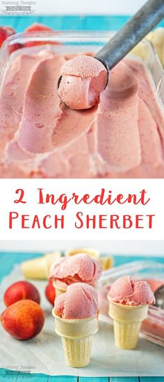 Craving a sweet treat? Make this yummy peach sorbet in just a few minutes and w… Craving a sweet treat? Make this yummy peach sorbet in just a few minutes and with only 2 ingredients! Peach Sherbet Recipe, Sherbet Recipes, Peach Sorbet, Fruit Recipes, Dessert Recipes, Pineapple Sorbet, Fruit Sorbet, Raspberry Sorbet, Recipes With Frozen Fruit