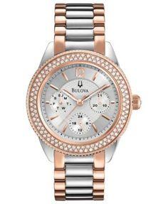 Bulova Watch, Women's Two-Tone Stainless Steel Bracelet 38mm 98N100