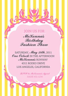 Couture FASHION SHOW Girl Birthday Party Invitation  by andersruff, $18.00