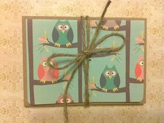 Owl and bird note card set by MollyDeesigns on Etsy, $5.00