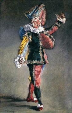 """Polichinelle - Edouard Manet. """"Y Dumas, cogiendo la carpeta que había dejado en el suelo, sacó varias obras de Manet: la acuarela de 'Olimpia', el dibujo original de la litografía de 'El gato negro y el gato blanco', un estado de la litografía en colores 'Polichinela', varias sanguinas admirables y, además, una docena de croquis de gatos (...) -¡Cómo se habrían metido conmigo mis amistades si hubieran visto esto! Cuento con usted para que se libre de esto."""""""