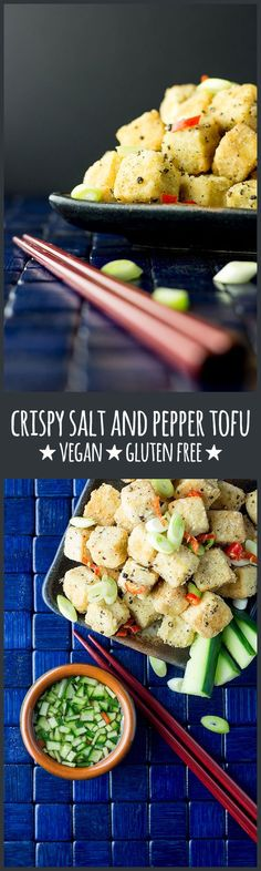 Crispy salt and pepper tofu with a cucumber and chilli dipping sauce is a…