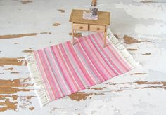 Pretty Pink 1:12 Scale #Miniature #Dollhouse Rug in Multi-Color Stripe, Rustic Cabin Country Farmhouse Cottage Home Decor Handwoven Textile by #MiddleStreetMinis on Etsy
