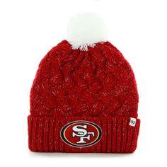 '47 Brand San Francisco 49ers Womens Black Fiona Cuff With Pom Knit Beanie