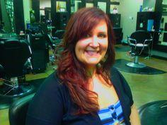 Mermaid red hair, long length and long layers