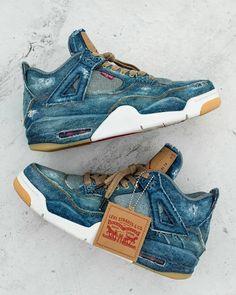 Creative flips on Jordan Brand's popular collaboration with Levi's. Cute Shoes, Me Too Shoes, Latest Shoe Trends, Air Jordan Shoes, Jordan 4, Casual Sneakers, Air Jordans, Mens Fashion, Levis