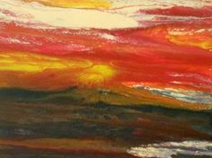"""Original Contemporary Abstract Sunset Landscape Painting """"The Heat is On"""" by Colorado Contemporary Artist Kimberly Conrad"""