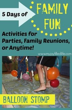 Welcome to Day 3 of 5 Days of Family Fun!  Day 1 – Donut on a String Day 2 – Ping Pong Toss Day 3 – Balloon Stomp Day 4 – Save the Kids Day 5 – Cheesy Head   Today's activity is:  Balloon Stomp   Supplies: Balloons String or yarn …