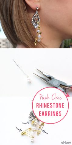 Adding a DIY touch to store-bought jewelry is an easy, inexpensive way to make it your own. Try your hand at transforming a simple pair of teardrop earrings with this project inspired by a $320 pair of Tom Binns earrings. All you need to do is add pearls and safety pins for some serious punk chic style. Seriously save hundreds!! http://www.ehow.com/how_12343182_punk-chic-rhinestone-earrings.html?utm_source=pinterest.com&utm_medium=referral&utm_content=freestyle&utm_campaign=fanpage