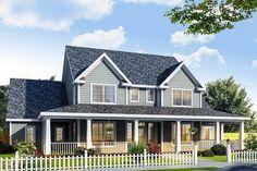 Farmhouse Design Has Three Porches - 4138WM | Architectural Designs - House Plans