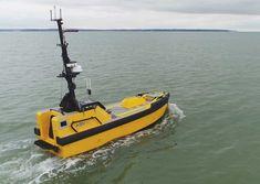 ASV Global's C-Worker 7 autonomous vessel. Offshore Wind Farms, Charter Boat, Catapult, Drones, Robots, Ships, Image, Boats, Robotics
