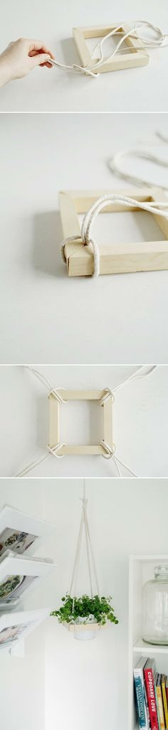 DIY Plant Stand Ideas for Indoor and Outdoor Decoration is part of Diy decor - Before you start thinking about buying more bookshelves for your pots, let me present you to your finest plantloving buddy; the DIY plant stand Diy Projects To Try, Craft Projects, Ideias Diy, Deco Floral, Home And Deco, Hanging Planters, Hanging Wire, Diy Hanging, Fall Planters