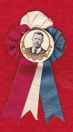 1904 Teddy Roosevelt Campaign Ribbon Rosette with 1 1 Celluloid Pinback Ribbon Rosettes, Ribbons, Franklin Roosevelt, Theodore Roosevelt, Vintage Antiques, Picture Frames, Political Campaign, Stripes, History