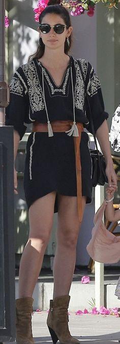 Who made Lily Aldridge's black print dress, sunglasses, brown wrap belt, and handbag?