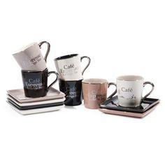 6er-Set Tassen LOUNGE BAR aus Porzellan mit Untertassen, braun/schwarz