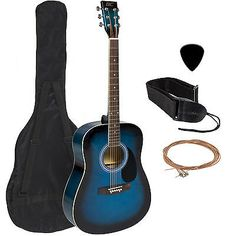 """Guitar 41"""" Complete Dimension Grownup Blue Consists of Guitar Choose & Add-on - http://www.guitarstore.wupples.com/acoustic-guitar-41-full-size-adult-blue-includes-guitar-pick-accessories/"""