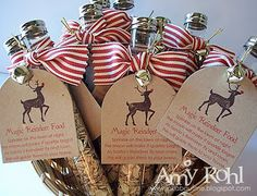 Every child on your list needs a little Magic Reindeer Food to make sure Santas sleigh reaches their house, right?! Each tube is tied with top quality grosgrain ribbon topped with a hand stamped tag tied with a jingle bell and gold cording. The verse on each magical tube reads: Sprinkle on the lawn at night, the moon will make it sparkle bright. As Santas reindeer fly and roam, this will guide them to your home. Price is for 10 tubes. If you are interested in a different quantity, pleas...