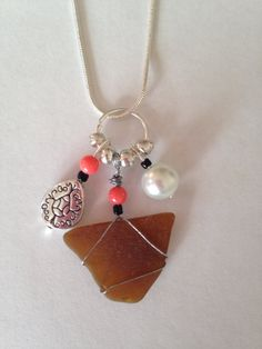 Sea Glass Charm Necklace  Brown Sea Glass  by DayDreamingDecor, $12.00