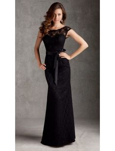Sheath Scoop Floor Length Satin and Lace Bridesmaid Dresses - Bridesmaid Dresses - Wedding Party Dresses