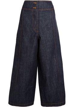 KENZO - Cropped High-rise Wide-leg Jeans - Dark denim - FR42