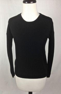 HM Sweater Womens Black Cashmere Long Sleeve XS #HM #Crewneck