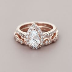 Don't be afraid to mix and match! The Heroine Accented Engagement Ring and Amore Vintage Diamond Wedding Band make the perfect rose gold pair #vintageengagementrings #weddingrings