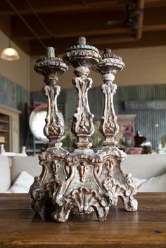 Set of Three 18th Century Italian Candlesticks   From a unique collection of antique and modern candleholders and candelabra at https://www.1stdibs.com/furniture/lighting/candleholders-candelabra/