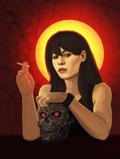 """Stellar: Sarah Connor ~ """"""""Stellar"""" is an illustration series by Las Vegas illustrator Jska Priebe. The series features seven legendary sci-fi women juxtaposed with religious iconic imagery, highlighting archetypal character types found in the science fiction genre."""" ~ The Terminator"""