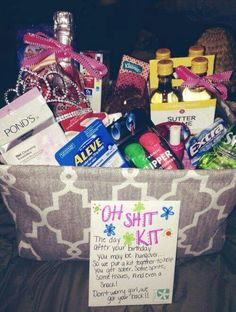 Obviously different wording. Oh poop kit in the locker room for girls who forget hair ties, bobby pins, hair spray, etc. Gift basket Ideas #giftbasketideas #giftbaskets