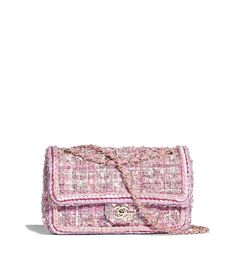 600cd8929a30 Tweed & Gold-Tone Metal Pink, Beige, Orange & Ecru Classic Handbag  . CHANEL