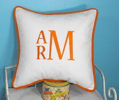 Large Font Monogrammed Euro Sham Pillow Cover  for boys room