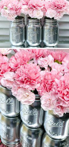 Metallic Mason Jars | Click Pic for 22 DIY Winter Wedding Ideas Dollar Stores | DIY Winter Wonderland Wedding Ideas