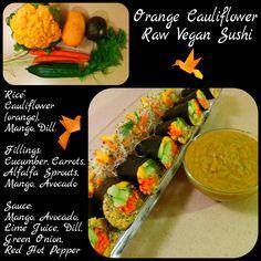 Orange Cauliflower Raw Vegan Sushi - Easily Raw