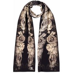 Louise Coleman - Garden Silk Skinny Scarf (320 RON) ❤ liked on Polyvore featuring accessories, scarves, patterned scarves, print scarves, silk scarves, silk shawl and pure silk scarves