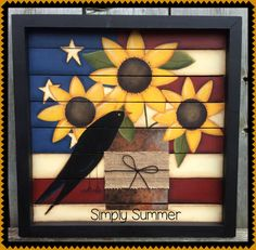 This is a quick and easy pattern with sunflowers, a flag, a crow and a rusty old tin can with a burlap ribbon painted on a pallet sign. Pattern comes complete with line drawings and detailed instructions. Americana Paint, Americana Crafts, Patriotic Crafts, Country Crafts, Patriotic Flags, Primitive Crafts, Wood Crafts, Barn Quilt Designs, Quilting Designs