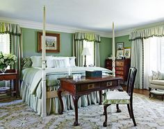 Green Master Bedroom  --  You've Never Seen a'Beach House' Like This - Traditional Home