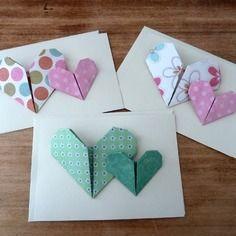 3 cartes faites main coeurs origami vintage à motif fleurs, pois.