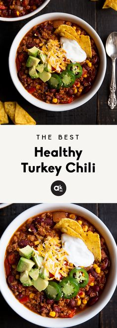 Healthy turkey chili made with lean ground turkey, kidney beans and corn. This version is simply the BEST! Can be made on the stovetop or in your slow cooker. dinner ground turkey The Best Healthy Turkey Chili You'll Ever Eat Crock Pot Recipes, Cooker Recipes, Roast Recipes, Meal Recipes, Dinner Recipes, Meatloaf Recipes, Pizza Recipes, Lunch Recipes, Summer Recipes