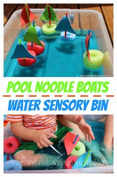 Pool Noodle Boats Water Sensory BinOver 20 Water Bin Play Activities For Kids Toddler Fun, Toddler Crafts, Toddler Activities, Activities For Kids, Crafts For Kids, Toddler Sensory Bins, Boat Craft Kids, Sensory Play For Toddlers, Water Crafts Preschool