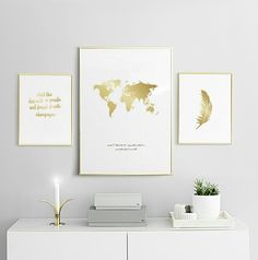 Large gold poster with feather in white frame to a modern decor. - Home - Pictures on Wall ideas