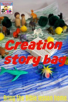 Creation story bag, continue the learning through play #kidmin #sundayschool #Biblelesson
