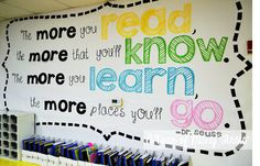 Teaching grade Trendy Ideas wall painting school classroom bulletin boards H Dr Seuss Bulletin Board, Reading Bulletin Boards, Back To School Bulletin Boards, Classroom Bulletin Boards, School Classroom, Future Classroom, Classroom Door Quotes, Classroom Reading Nook, March Bulletin Board Ideas