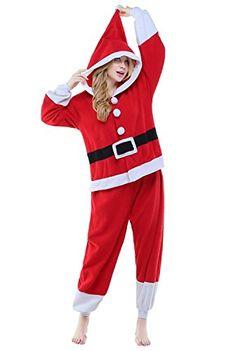 BELIFECOS Unisex Plush Pajamas One Piece Cosplay Holiday CostumeXLSanta Claus