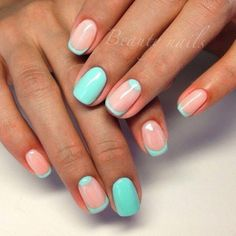 Accurate nails, Coral nails, March nails 2016, Nails ideas 2016, Original nails, Party nails, Spring french manicure, Spring moon nails