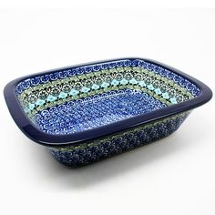"""2 1/4"""" H x 7"""" W x 9 3/4"""" L - Quality 1 Guaranteed from the renowned Ceramika Artystyczna Boleslawiec - Polish Pottery is Oven, Microwave, and Dishwasher Safe! - Hand Painted and Stamped by Highly Skil"""