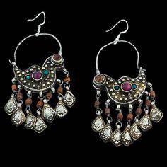 Tajikistan/Uzbekistan | Gilded Silver Coral Turquoise and Glass BirdEarrings | Circa Early 20th Century | Hooks (new) 925 Silver. | 320£