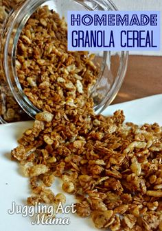 Our crunchy homemade granola recipe is a delicious mixture of oats, walnuts, toasted coconut, cinnamon, wheat germ and other tasty ingredients. Gourmet Recipes, Cooking Recipes, Healthy Recipes, Medifast Recipes, Healthy Cooking, Vegetarian Recipes, Dessert Recipes, Desserts, Delicious Breakfast Recipes