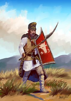 Moldavian warrior, Big Army, Stefan the Great. by Nikuloki (Sergiu Ninicu) study Ostasi moldoveni a armatei lui Stefan cel Mare a 15 veac. Medieval Times, Medieval Art, Medieval Fantasy, Dark Fantasy, Fantasy Art, Character Design Animation, Fantasy Weapons, Knights Templar, Dark Ages